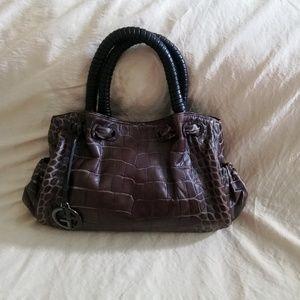 Giorgio Armani croc embrosed leather handbag